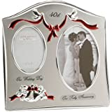 """Two Tone Silverplated Wedding Anniversary Gift Photo Frame - """"40th Ruby Anniversary"""""""