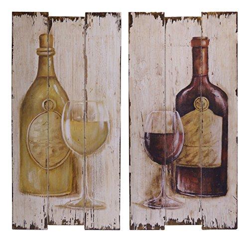 2x Bild 60x30cm Tafel Holz Holzbild Holztafel Glas Flasche Wein antik - Wein Antik