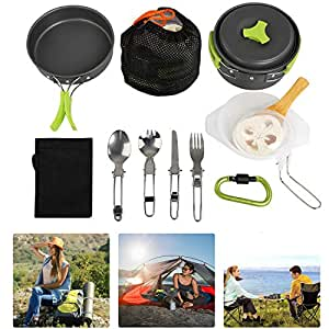 BelleStyle Camping Cookware Kit, 1-2 People 15Pcs Camping Cooking Set Non Stick Camping Utensils Pot Pans Set for Outdoor Camping Backpacking Gear Hiking BBQ Picnic, Lightweight & Compact & Durable