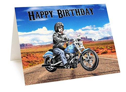 Harley Davidson moto personalizzato a colori di compleanno-qualsiasi nome ed età stampato sulla parte anterio