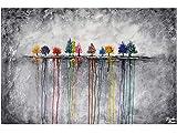 KunstLoft Acryl Gemälde 'Buoyant Spirit' 120x80cm | original handgemalte Leinwand Bilder XXL | Natur Baum Bunt Grau | Wandbild Acrylbild Moderne Kunst einteilig mit Rahmen