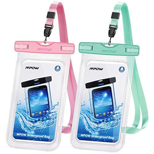 Mpow wasserdichte Handyhülle 2 Stücke, Handytasche Wasserdicht, Staubdichte Schutzhülle für iPhone 11/iPhone X/XR/XS/XS MAX/8/7/6/6s/6splus/Galaxy S9/S8/S7/S7edge/S6/S, P10/P8/P9 usw. bis 6,5 Zoll
