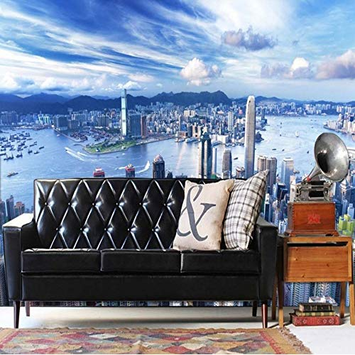 Xbwy Wallpaper 3D Custom New York City Modern High Rise Building Photography Background Wallpaper Restaurant Bar Shopping Mall Mural-250X175Cm