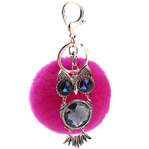 YYHMHMH Tasche Anhänger Niedlichen Haar Ball Schlüsselanhänger Rex Kaninchen Autozubehör Damen Mode Metall Kreative Gezeiten Schlüsselanhänger Rose Rote Eule (Niedlichen Haar-accessoires)