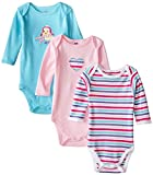 Luvable Friends 3 Pack Long Sleeve Baby Bodysuits Vests (3-6 Months, Pink Girls)
