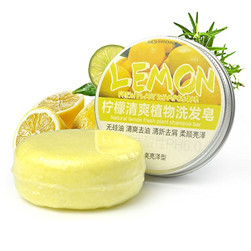 lemon Shampoo Bar OYOTRIC Shampoo and Conditioner, Plant essential oil 100% Natural Handmade Organic seaweed Soap Bar