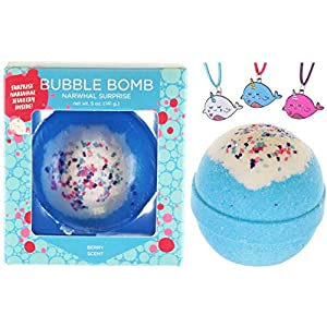 Two Sisters Spa Bubble Bath Bomb With Surprise Necklace Inside, Large Scented Spa Fizzy, Fun Color, Lush Scent, Kid Safe, Vegan, Hand-Made In Usa (Narwhal Surprise)
