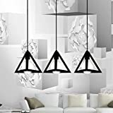 Eisa Vintage Black Metal Triangle Shape Hanging Light Pendant Ceiling Light Lamp Industrial Retro Country Style Led Bulb Dining Hall Restaurant Bar Cafe Lighting Use (No Bulbs Provided) (Triple)