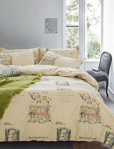 LIANGTT Vier Sätze Bettwäsche,einfache Opulenz Karikatur 100% Cotton gedruckte Ferien König Königin Bettbezug mit 1 Spannbetttuch und 2 Kissenbezüge eingestellt, Queen -