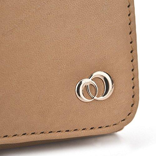 Kroo Pochette en cuir véritable pour téléphone portable pour Alcatel POP Icon/Pop 2(5)/Pop S7/One Touch Scribe facile double SIM noir - noir Marron - marron
