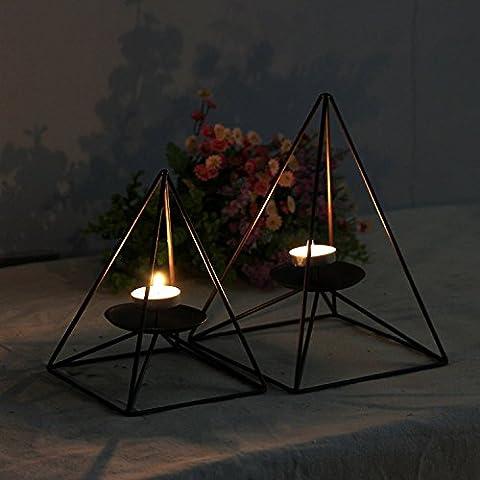 home-organizer Tech Geometrische contracted Pyramide Form schwarz Eisen Kerzenständer Kerzenhalter Eisen Kerzenständer Kerzenhalter, schwarz, S