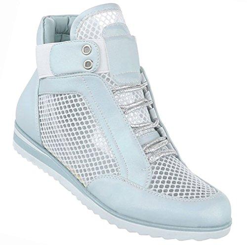 Damen Schuhe Freizeitschuhe Perforierte High Top Sneakers Turnschuhe Hellblau 37 (Lo Schnur Hi)