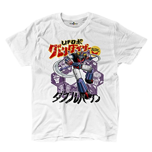 Camiseta hombre robot mecha Chogokin Style años 80Memories UFO Robo 2Color kiarenzafd Streetwear Shirts, blanco, XL