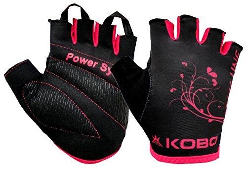 Kobo Ladies Exercise Weight Lifting Grippy Hand Protector Padded Gym & Fitness Gloves (Size-Large)