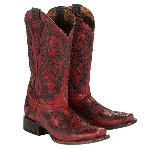 Corral Damen rot mit schwarz Overlay quadratisch Fuß Cowgirl Stiefel G1468, Damen, rot, 9 B(M) US