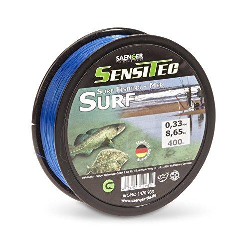 Sensitec Schnur für das Dorsch- und Pilkerangeln sowie das Brandungsangeln, Länge 300m, Farbe Gelb und Dunkelblau, 0,33mm - 0,45mm (Brandung Surf Schnur - 0,36m, 300)