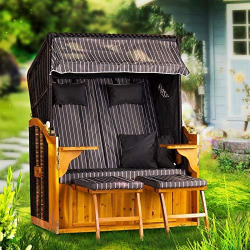 Strandkorb Ostsee Deluxe XXL Volllieger 2 Sitzer - 127 cm breit - grau weiß inklusive Schutzhülle, ideal für Garten und Terrasse