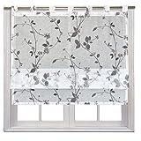 JEMIDI Raffrollo Luisa transparent mit Blüten in 3 verschiedenen Größen Raffgardine Fensterrollo Schlaufenrollo Schlaufen Scheibengardine Vorhang Dekogardine Weiß 100cm x 140cm