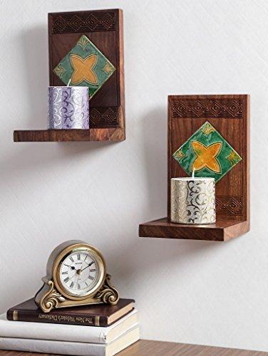 zerfasern Indien Holz Buch Ende Set mit Keramik Fliesen