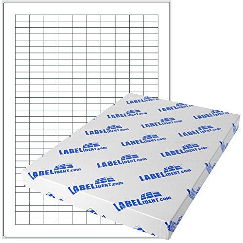 Labelident Etiketten - 20 x 8 mm, rechteckig - Polyester weiß, matt, permanent haftend - 315 Aufkleber, DIN A4 Bogen, 1 Blatt