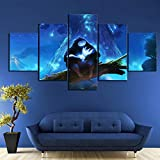 axqisql Artwork Canvas Art for Wall Decor 5 P HD Fantasy Art Cartoon Wall Pictures Ori and The Blind...