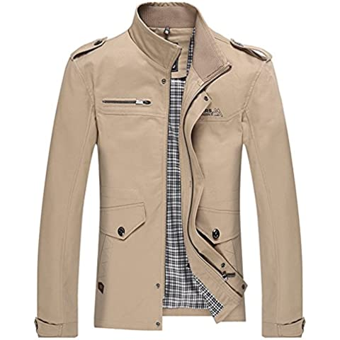Cotone Degli Uomini Stand Collar Zipper Giacca a Vento