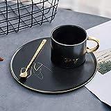 WEHOLY Moka Caffettiera Tazza e piattino da caffè in Ceramica nordica Set da tè Nero con Bordo in Oro con Tazza da tè in Acciaio Inossidabile 304 Cucchiaio di Animali, Cane