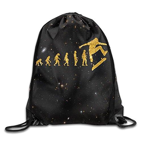 Funny&shirt Gold Glitter Skateboarding Lover Human Evolution Portable Gym Drawstring Storage Bags Sackpack Sport Bag (Gold Belt Athletic)