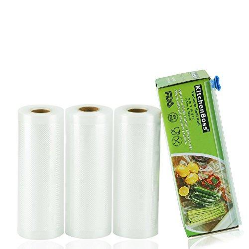 KitchenBoss Vakuumrollen 3 Rollen 15x500cm Mit 1 kasten cutter Profi- Folienrollen, Kommerzielle Geprägte Taschen für Nahrungsmittelretter und Sous Vide Kochen, FDA-Zustimmung und BPA frei