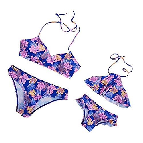 Familien Kleidung Set Dasongff 2 stücke Bikini Sets Hohe Taille Rüschen Blume Druck Badeanzüge Familie Kleidung Mutter Tochter Outfits Mutter und Tochter Bademode