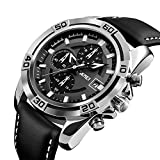 SKMEI Luxury Chronograph Leather Strap Waterproof Men Quartz Wrist Watch