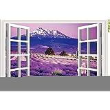 Ecloud Shop® Ventanas 3D romántico paisaje de lavanda Vinilo Room Decor Wallpaper impermeable