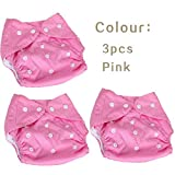 #5: FunBlast (Pack of 3) Reusable and Adjustable Baby Diapers, Children Cloth Diaper, Reusable Nappies Adjustable Diaper Cover Washable , Available in Different Color (3 Pcs - Pink)