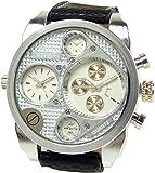 Banger Dualtime Chronograph for Men Double Temps Zwei Zonen Navigator Herrenuhr XL Atlas Modell mit 2 Uhrwerken Weltzeituhr Schwarz Silber mit Lederarmband