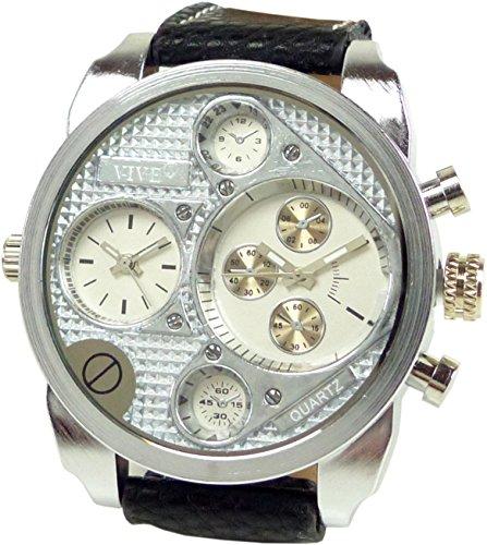 Banger Dualtime Silver Silber Chronograph for Men Double Temps Zwei Zonen Navigator Herrenuhr XL Atlas Modell mit 2 Uhrwerken Weltzeituhr Schwarz Silber mit Lederarmband...