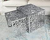 Michael Noll Couchtisch 2er Set Wohnzimmertisch Sofatisch Beistelltisch Tisch Aluminium Silber Luxus 49 cm