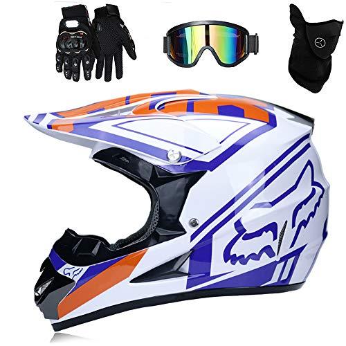 QYTK® MT-223 Integralhelm Motorradhelm, Full face Motocross Helm Sport Adventure Racing Motorrad-Helm Motocross Schutzhelm MTB Schutz Sicherheit Helm mit Handschuhe Maske Brille,L56~57CM