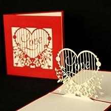 """Pop Up Karte Herz """"Love Heart"""" Hochzeitskarte, Verlobungskarte, Valentinskarte, Pop Up Karte, 3D Karte, Valentinstag, Liebe, Grußkarte, Liebesgruß, Verlobung, Hochzeit, Einladung, Einladungskarte"""