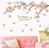 Waofe Kirschbaum Wandaufkleber Vögel Aufkleber Wohnzimmer Schlafzimmer Tv Sofa Hintergrund Dekor Wandtattoos Wandbild Diy Wandkunst Dekoration