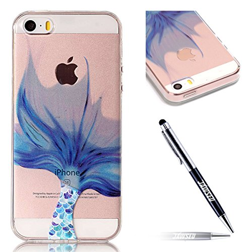 iPhone SE Custodia, iPhone 5S/5 Cover in Silicone TPU Transparente, JAWSEU Creativo Disegno Super Sottile Cristallo Chiaro Custodia per Apple iPhone 5/5S Corpeture Case Antiurto Anti-scratch Shock-Abs Coda di pesce