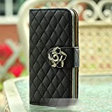HuaYang Fashion Camellia Decorated Flip Wallet Stand Case Cover For iPhone 5 5S with Card Slot(Black)