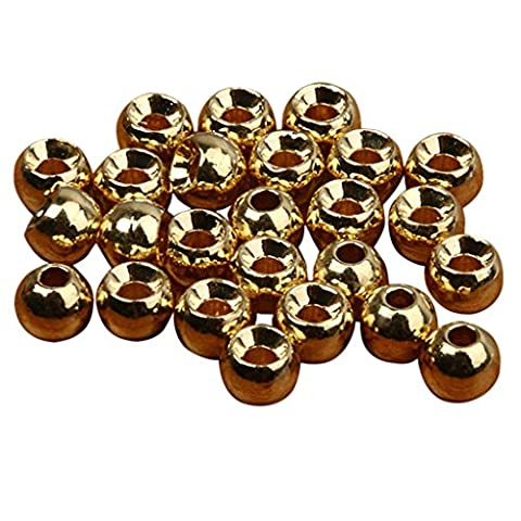 25pcs Tungsten Slotted Fly Tying Head Beads Nymph Head Ball Beads Crafts 2.4/3.3/4/4.6mm Gold/Black - Gold,
