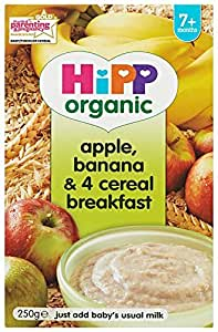 HiPP Organic Stage 2 From 7 Months Apple, Banana and 4 Cereal Breakfast 250 g (Pack of 4)