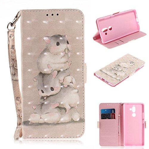 Nokia 7 Plus Hülle,Nokia 7 Plus Leder Handyhülle,WIWJ Handyhülle Wallet Case[3D Lackiertes Verbindungsmittel Bracket Holster] Flip Schutzhüllen für Nokia 7 Plus-Drei Eichhörnchen