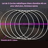 5Stück Metallringe) weiß 40cm Durchmesser für Lampenschirm, Ringe Epoxidharz Traumfänger