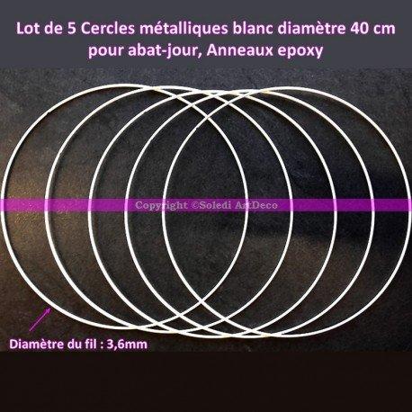 Ringe aus Metall, Weiß, Durchmesser 40 cm, für Lampenschirme und Traumfänger, Epoxidharz, 5 Stück