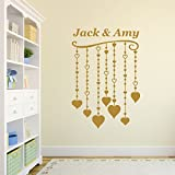 Cuori appesi personalizzati Vinile Wall Art Sticker, murale, decalcomania - qualsiasi nome (Hearts Design)