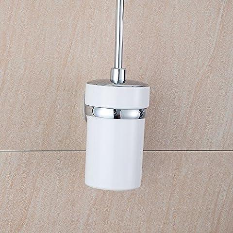 sdkky Creative WC Badezimmer verchromt Edelstahl mit Deckel Reinigungsbürste Glas Halter