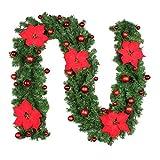Joyibay 8.86 Pies Guirnalda De Navidad Vid De Flor Artificial Adorno Colgante De Fiesta De Navidad con Luz Decorativa