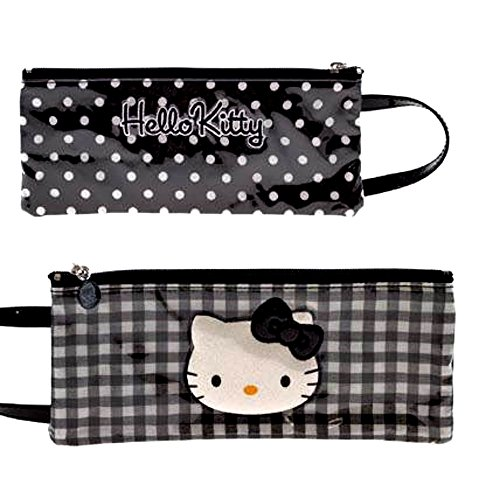 Hello Kitty by camomilla - Trousse plate avec poignee 10 x 24cm - Lolly - Noir